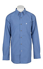 Ariat Men's Pippin Washed Cobalt Blue and White Plaid Long Sleeve Western Shirt
