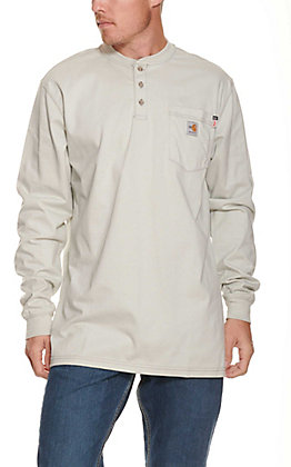 Carhartt Force Men's FR Grey Long Sleeve Henley Style T-Shirt - Big & Tall