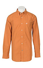 Ariat Pro Series Men's Tailgate Burnt Orange with White Plaid L/S Western Shirt