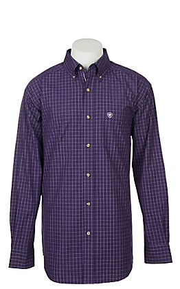 Ariat Pro Series Men's Tailgate Purple with White Plaid L/S Western Shirt