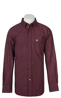 Ariat Pro Series Men's Tailgate Maroon with White Plaid L/S Western Shirt