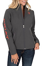 Ariat Women's Granite and Coral Logos Long Sleeve Soft Shell Jacket