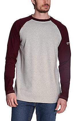 Ariat Men's Grey with Malbec Long Raglan Sleeves FR Baseball T-Shirt