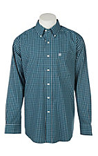 Ariat Men's Wrinkle Free Underwood Fluid Teal Plaid Print Long Sleeve Western Shirt
