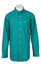 Ariat Men's Vavrick Aztec Pappagallo Teal Print L/S Cavender's Exclusive Western Shirt