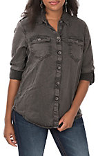 Ariat Women's Faded Black Tabbed Sleeves Button Down Utility Shirt
