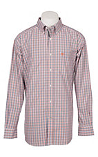 Ariat Men's Calahan Navy and Orange Check Print Long Sleeve Western Shirt