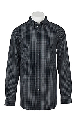 Ariat Men's Pro Series Curtis Black Plaid Print Long Sleeve Western Shirt