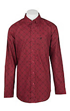 Ariat Men's Camero Red Medallion Print Long Sleeve Western Shirt