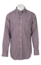 Ariat Men's Wrinkle Free Zelinger Grey Plaid Print Long Sleeve Western Shirt