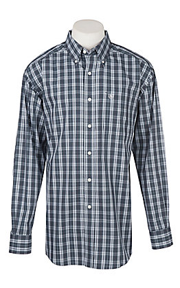 Ariat Men's Wrinkle Free Zender Burgundy Plaid Print Long Sleeve Western Shirt