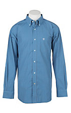 Ariat Men's Pro Series Abelman Coast Azure Plaid Print Long Sleeve Western Shirt