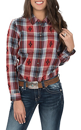 Ariat Women's Etna Rust and Navy Aztec Plaid with Button Sides Long Sleeve Western Shirt