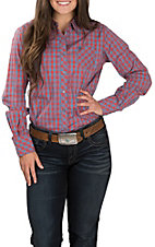 Ariat Women's REAL Kirby Rust and Blue Gingham Stretch Long Sleeve Western Shirt