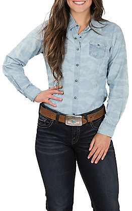 Ariat Women's REAL Bold Snap Chambray Blue Camo Long Sleeve Western Shirt