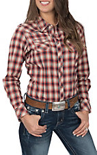 Ariat Women's REAL Marvelous Red, Cream and Navy Plaid Long Sleeve Western Shirt