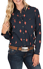 Ariat Women's REAL Navy with Orange Aztec Embroidery Long Sleeve Western Shirt
