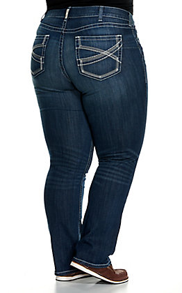 Ariat Women's REAL Ivy Dresden Dark Wash Mid Rise Straight Leg Stretch Plus Size Jean