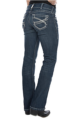 Ariat Women's REAL Ivy Dresden Dark Wash Mid Rise Straight Leg Stretch Jean