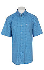 Ariat Men's Blue Oxbow Stretch Print S/S Cavender's Exclusive Western Shirt - Big and Tall