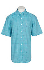 Ariat Men's Turquoise Ripley Stretch Print S/S Cavender's Exclusive Western Shirt - Big and Tall