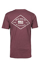 Ariat Men's Heather Burgundy Registered Logo with Flag Short Sleeve Tee