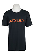 Ariat Men's Navy with Orange Ariat Logo Short Sleeve T-Shirt