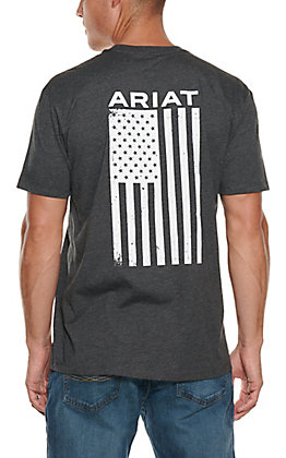 Ariat Men's Freedom Charcoal Grey Logo Flag Short Sleeve T-Shirt