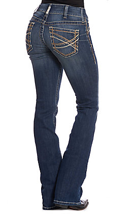 Ariat Women's REAL Entwined Festival Dark Wash Mid Rise Boot Cut Jeans