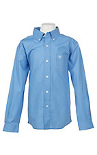 Ariat Boy's Light Blue Jonah Print L/S Cavender's Exclusive Western Shirt