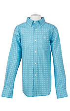 Ariat Boy's Turquoise Morrison Print L/S Cavender's Exclusive Western Shirt