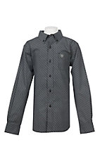 Ariat Boy's Cavender's Exclusive Black Omaha Stretch Print Long Sleeve Western Shirt