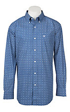 Ariat Men's Cavender's Exclusive True Blue Morrison Stretch Long Sleeve Western Shirt - Big & Tall