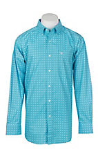 Ariat Men's Turquoise Morrison Print L/S Cavender's Exclusive Western Shirt - Big and Tall