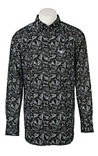 Ariat Men's Cavender's Exclusive Black Paisley Olex Long Sleeve Western Shirt - Big and Tall