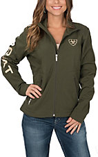Ariat Women's Brine and Olive Green Logos Long Sleeve Soft Shell Jacket