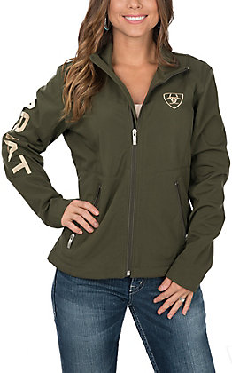Ariat Women's Olive with Tan Logo Team Softshell Jacket