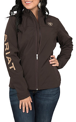 Ariat Women's Brown with Tan Logo Team Softshell Jacket - Cavender's Exclusive