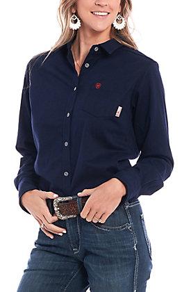 Ariat Women's Navy Blue FR Taylor Knit Work Shirt