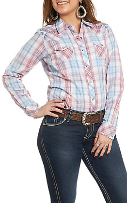 Ariat Women's REAL Lovely Blue Plaid Long Sleeve Western Shirt