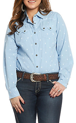 Ariat Women's REAL Lucky Blue Long Sleeve Western Shirt