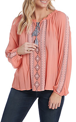 Ariat Women's Coral Aztec Embroidered Long Sleeve Fashion Top