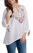 Ariat Women's White Floral Embroidered Tassel Sleeve Tunic
