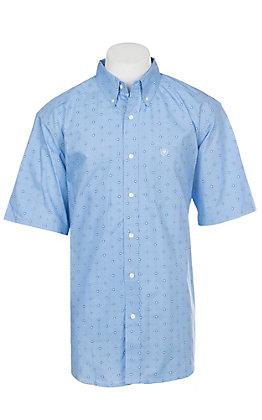 Ariat Men's Dantos Bright Indigo Short Sleeve Stretch Print Western Shirt