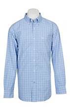 Ariat Men's Pro Series Light Blue Davidson Plaid Long Sleeve Western Shirt