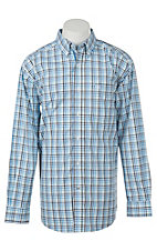 Ariat Pro Series Men's Blue Ealey Plaid White Western Shirt