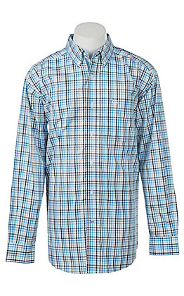 Ariat Pro Series Men's Blue Ealey Plaid White Western Shirt