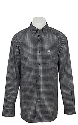 Ariat Men's Pro Series Black Ebstein Plaid Long Sleeve Western Shirt