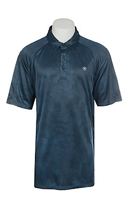 Ariat Men's Camo Blue Pine Heat Series Tek Polo Shirt