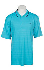 Ariat Men's Edge Turquoise Reef Striped Heat Series Tek Polo Shirt